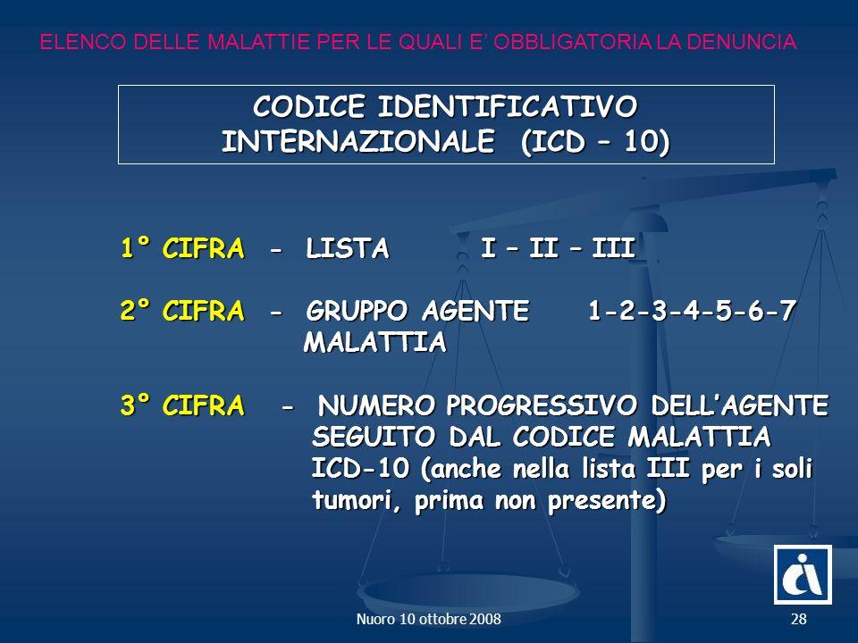 Nuoro 10 ottobre 200828 ELENCO DELLE MALATTIE PER LE QUALI E OBBLIGATORIA LA DENUNCIA CODICE IDENTIFICATIVO INTERNAZIONALE (ICD – 10) 1° CIFRA - LISTA I – II – III 2° CIFRA - GRUPPO AGENTE 1-2-3-4-5-6-7 MALATTIA MALATTIA 3° CIFRA - NUMERO PROGRESSIVO DELLAGENTE SEGUITO DAL CODICE MALATTIA SEGUITO DAL CODICE MALATTIA ICD-10 (anche nella lista III per i soli ICD-10 (anche nella lista III per i soli tumori, prima non presente) tumori, prima non presente)