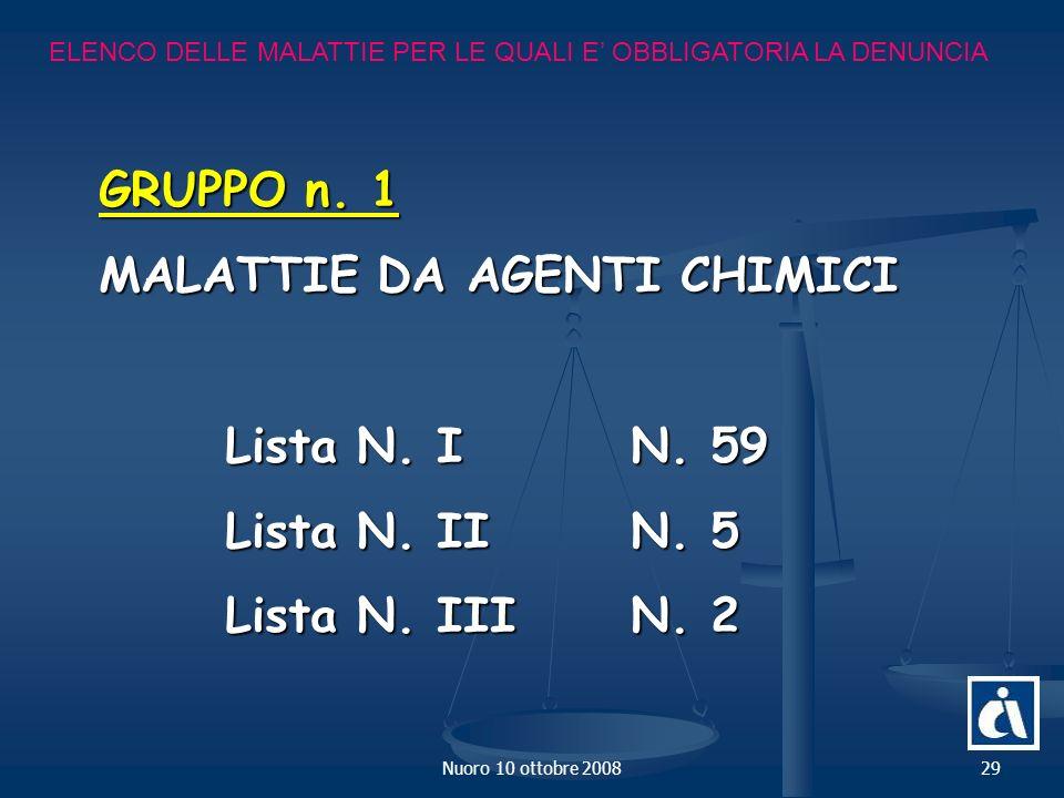 Nuoro 10 ottobre 200829 ELENCO DELLE MALATTIE PER LE QUALI E OBBLIGATORIA LA DENUNCIA GRUPPO n.