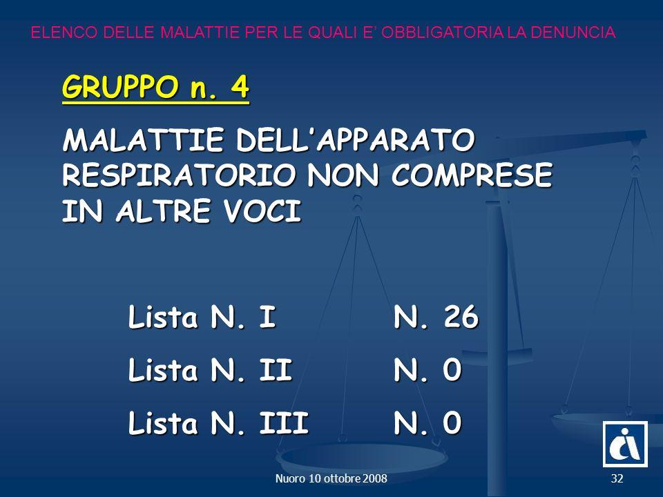 Nuoro 10 ottobre 200832 ELENCO DELLE MALATTIE PER LE QUALI E OBBLIGATORIA LA DENUNCIA GRUPPO n.