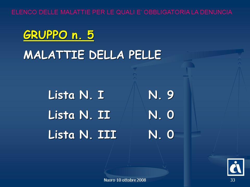 Nuoro 10 ottobre 200833 ELENCO DELLE MALATTIE PER LE QUALI E OBBLIGATORIA LA DENUNCIA GRUPPO n.