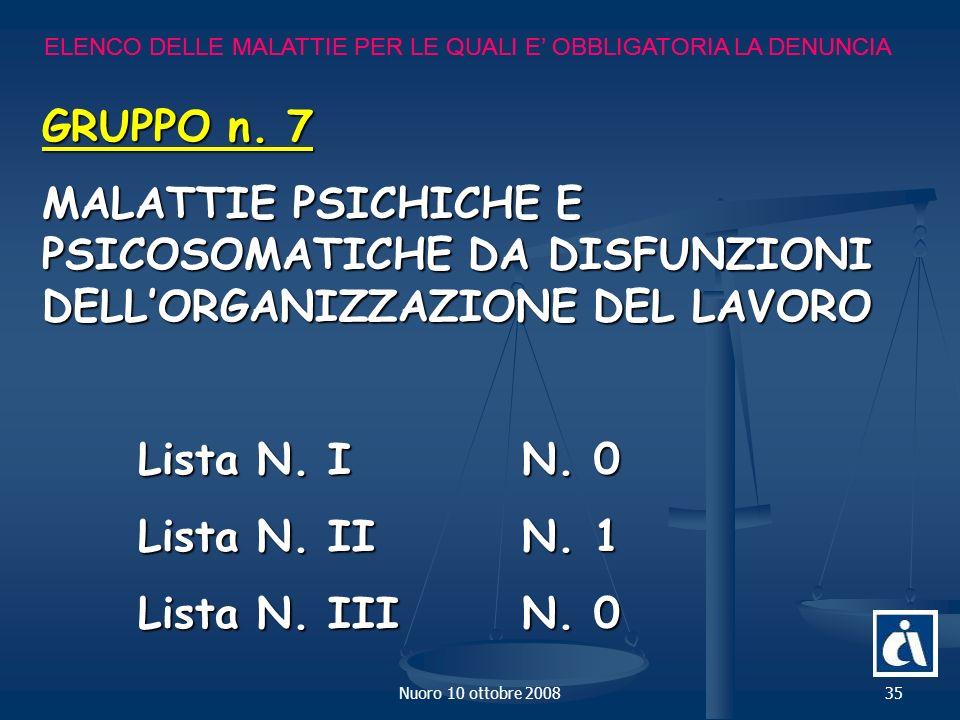 Nuoro 10 ottobre 200835 ELENCO DELLE MALATTIE PER LE QUALI E OBBLIGATORIA LA DENUNCIA GRUPPO n.