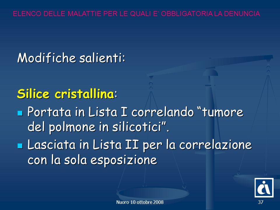Nuoro 10 ottobre 200837 Modifiche salienti: Silice cristallina: Portata in Lista I correlando tumore del polmone in silicotici.