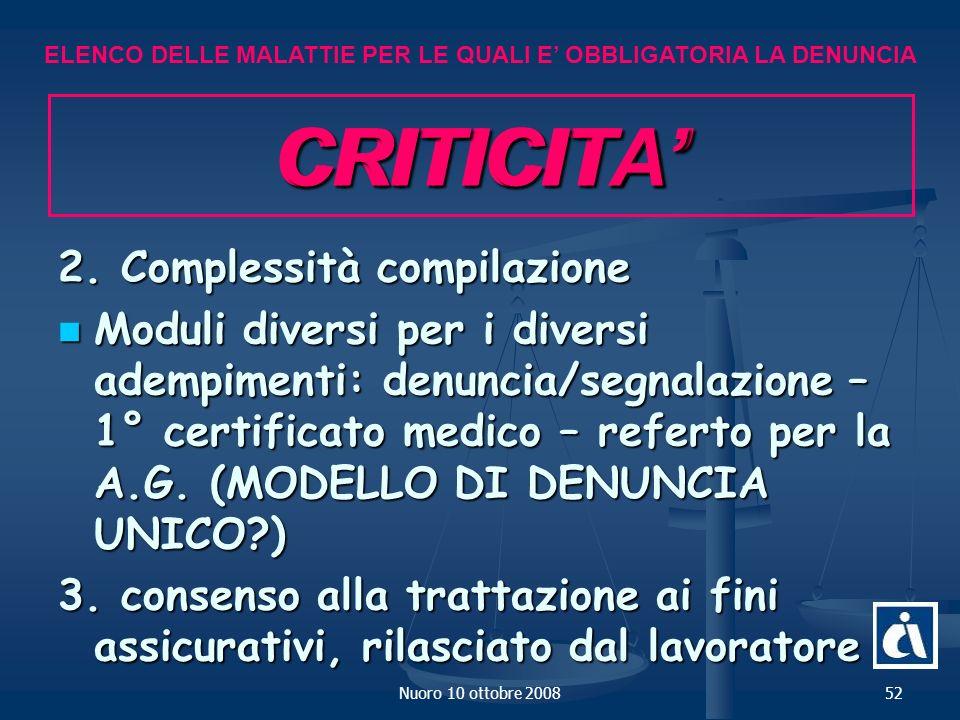 Nuoro 10 ottobre 200852 CRITICITA 2.