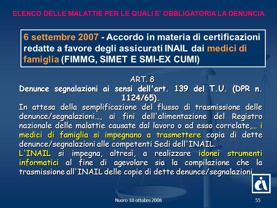 Nuoro 10 ottobre 200855 ELENCO DELLE MALATTIE PER LE QUALI E OBBLIGATORIA LA DENUNCIA ART.