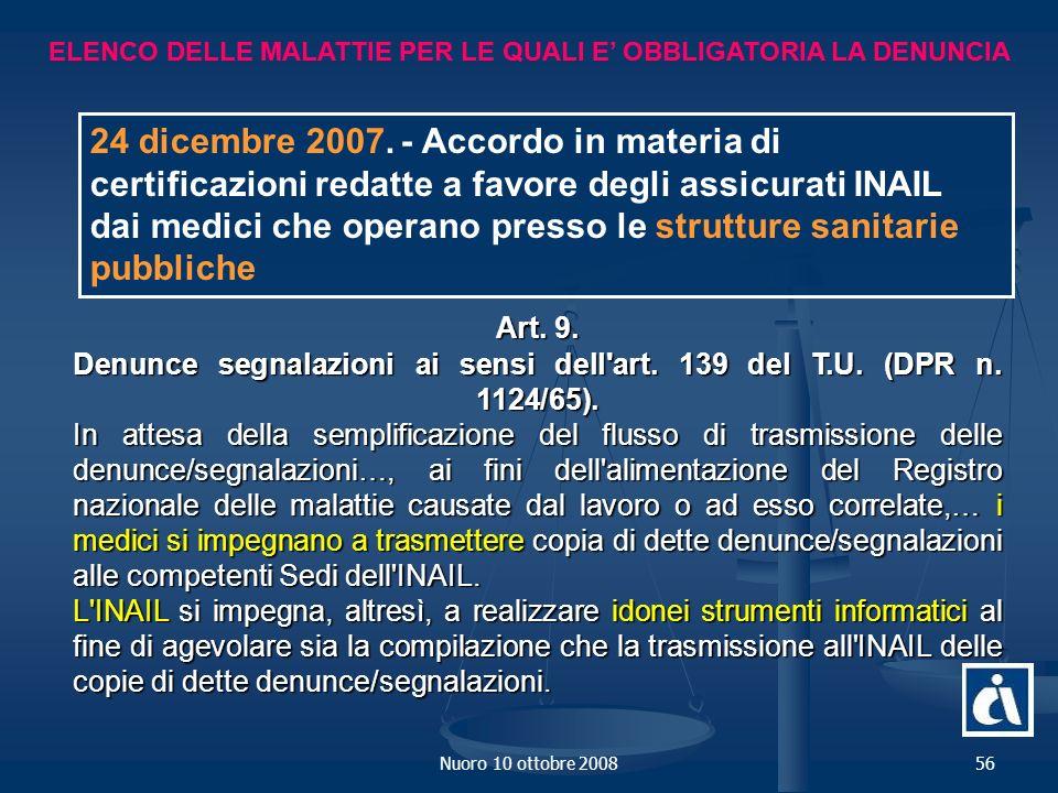 Nuoro 10 ottobre 200856 ELENCO DELLE MALATTIE PER LE QUALI E OBBLIGATORIA LA DENUNCIA Art.