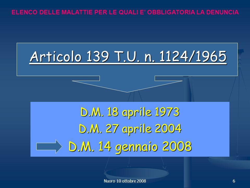 Nuoro 10 ottobre 20086 ELENCO DELLE MALATTIE PER LE QUALI E OBBLIGATORIA LA DENUNCIA D.M.