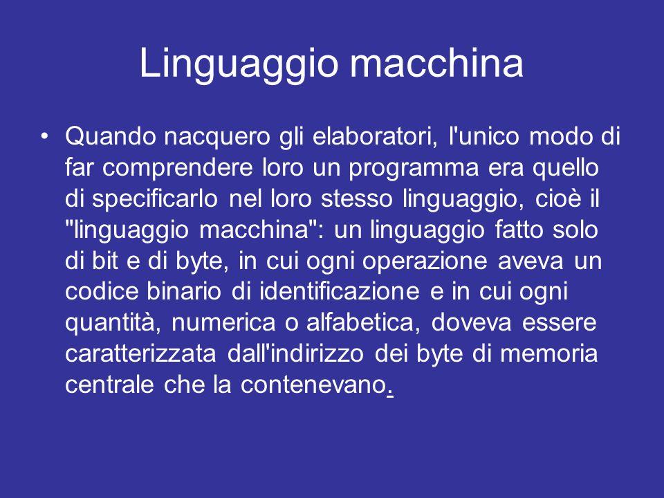 linguaggi assemblatori Questo rendeva la programmazione un lavoro da specialisti.