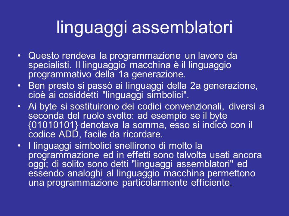 linguaggi algebrici Si arrivò così ai linguaggi della terza generazione, detti linguaggi algebrici , che possono essere utilizzati anche da persone senza una profonda conoscenza dell informatica.