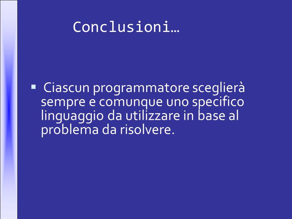 Conclusioni… Ciascun programmatore sceglierà sempre e comunque uno specifico linguaggio da utilizzare in base al problema da risolvere.