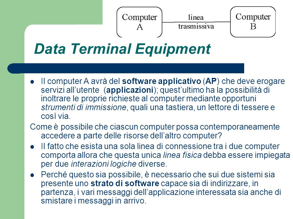 Data Terminal Equipment Il computer A avrà del software applicativo (AP) che deve erogare servizi allutente (applicazioni); questultimo ha la possibil