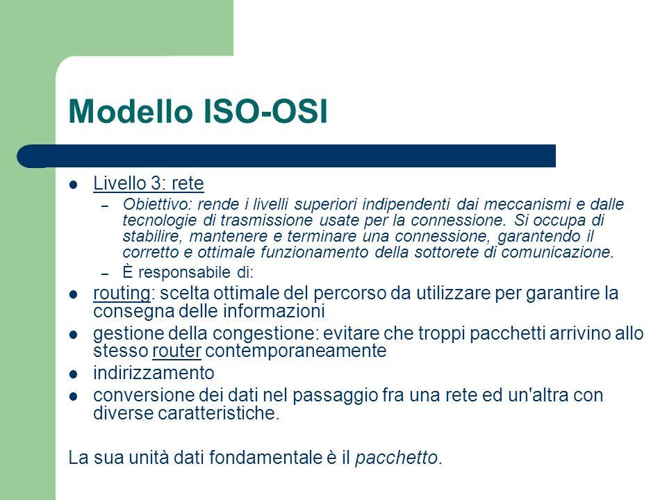 Modello ISO-OSI Livello 3: rete – Obiettivo: rende i livelli superiori indipendenti dai meccanismi e dalle tecnologie di trasmissione usate per la con