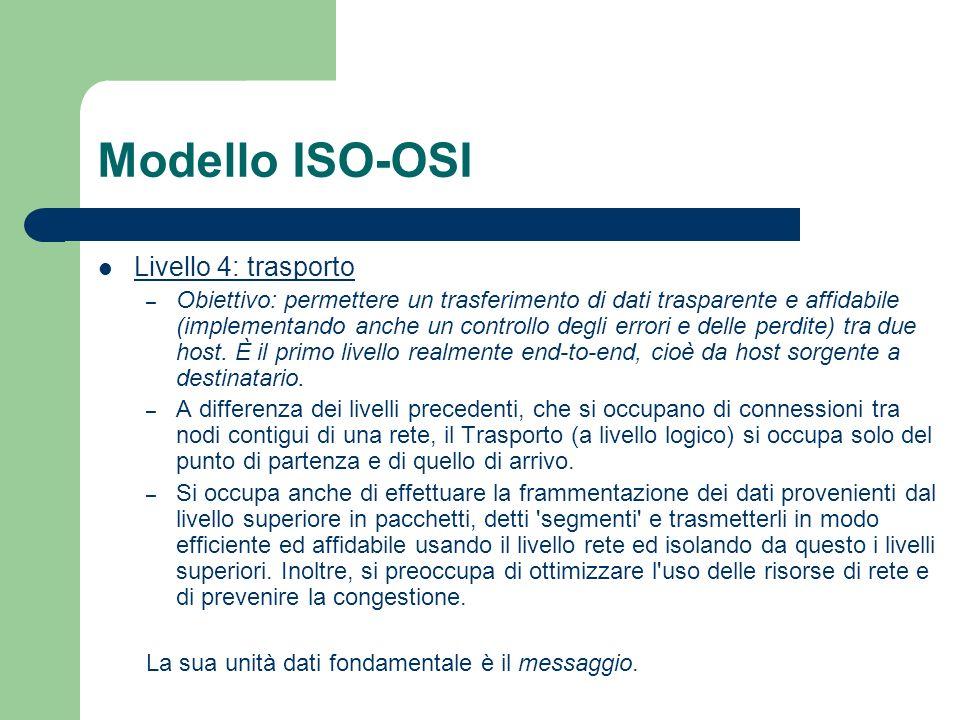 Modello ISO-OSI Livello 4: trasporto – Obiettivo: permettere un trasferimento di dati trasparente e affidabile (implementando anche un controllo degli