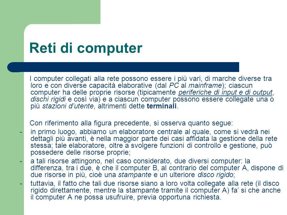 Reti di computer I computer collegati alla rete possono essere i più vari, di marche diverse tra loro e con diverse capacità elaborative (dal PC al ma