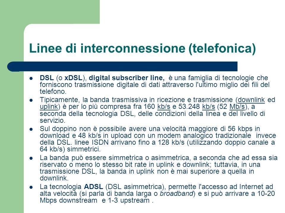 Linee di interconnessione (telefonica) DSL (o xDSL), digital subscriber line, è una famiglia di tecnologie che forniscono trasmissione digitale di dat
