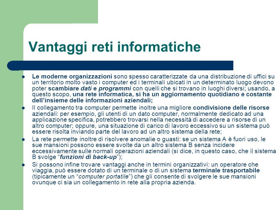Vantaggi reti informatiche Le moderne organizzazioni sono spesso caratterizzate da una distribuzione di uffici su un territorio molto vasto i computer