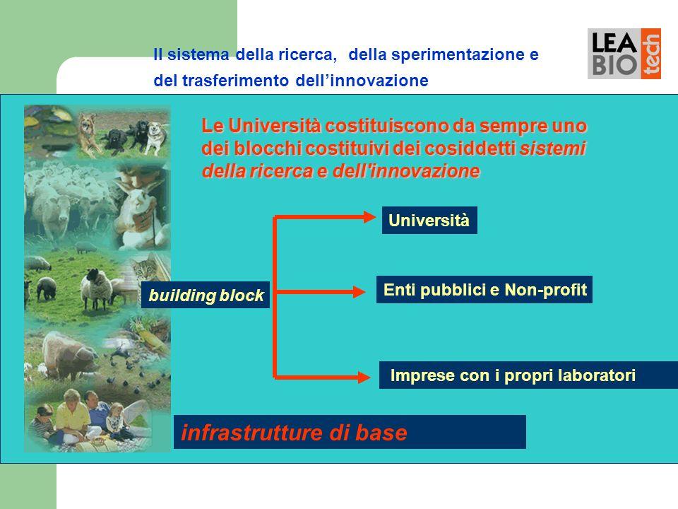 Il sistema della ricerca, della sperimentazione e del trasferimento dellinnovazione building block Università Enti pubblici e Non-profit Imprese con i