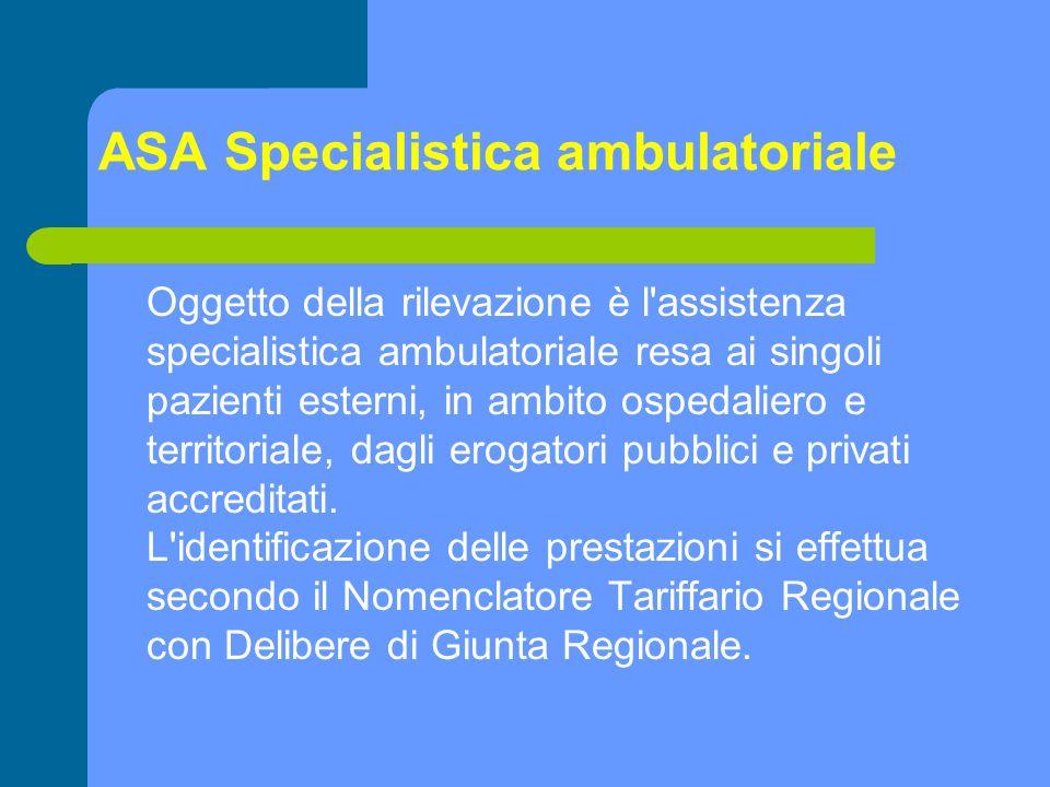 Oggetto della rilevazione è l'assistenza specialistica ambulatoriale resa ai singoli pazienti esterni, in ambito ospedaliero e territoriale, dagli ero