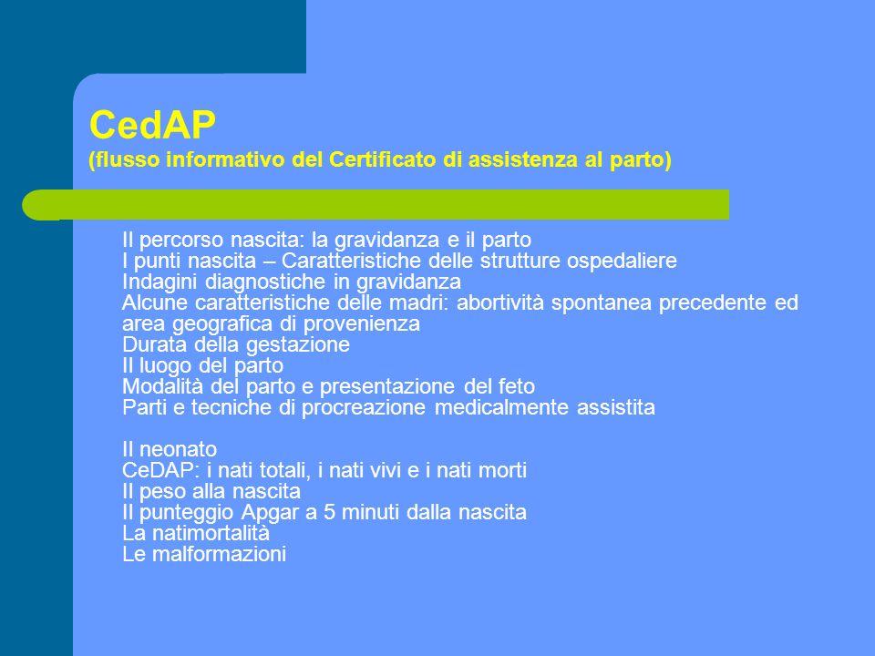 CedAP (flusso informativo del Certificato di assistenza al parto) Il percorso nascita: la gravidanza e il parto I punti nascita – Caratteristiche dell