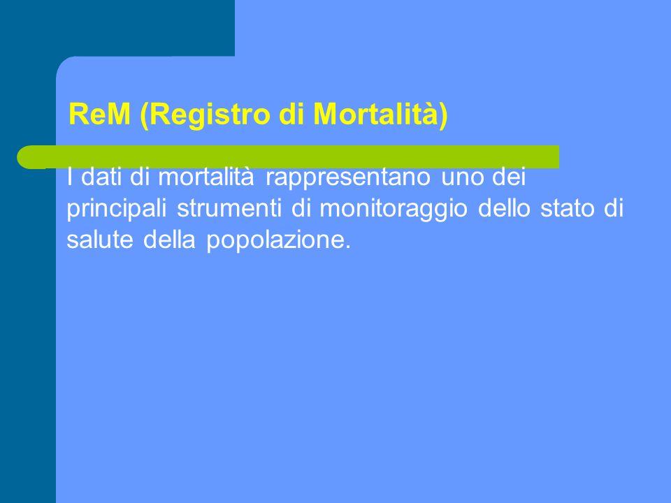 ReM (Registro di Mortalità) I dati di mortalità rappresentano uno dei principali strumenti di monitoraggio dello stato di salute della popolazione.
