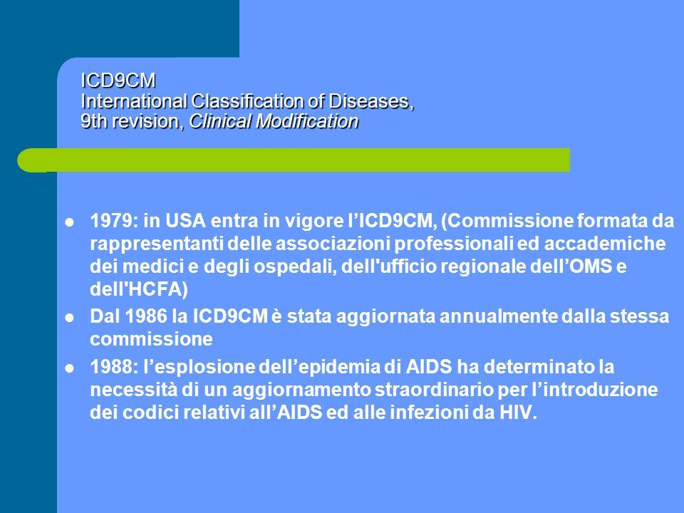 ICD9CM International Classification of Diseases, 9th revision, Clinical Modification 1979: in USA entra in vigore lICD9CM, (Commissione formata da rap