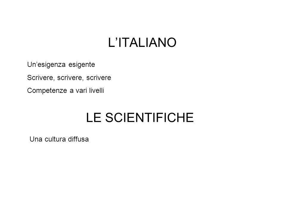 LITALIANO Unesigenza esigente Scrivere, scrivere, scrivere Competenze a vari livelli LE SCIENTIFICHE Una cultura diffusa