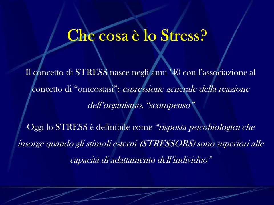 Stressor Non esistono specifici Stressors, in quanto tutto ciò che caratterizza il nostro vissuto, per: - la sua intensità e/o aggressività; - la sua presenza prolungata nel tempo e/o il suo cambiamento continuo; - la sinergia con altri condizionatori psicofisici; può essere considerato dal nostro sistema psicosomatico e somatopsichico come un agente aggressore stressante = STRESSOR