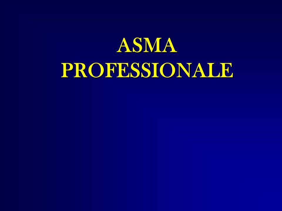 Definizione LAsma bronchiale LAsma bronchiale è una malattia respiratoria caratterizzata da broncocostrizione totalmente o parzialmente reversibile, iperreattività bronchiale e infiammazione delle vie aeree (1975 OMS ) LAsma bronchiale professionale LAsma bronchiale professionale è causata da agenti specifici presenti in ambiente di lavoro (Subcommittee on Occupational Allergy – European and Clinical Immunology, 1992) Si possono distinguere tre possibili condizioni: 1) Asma dovuta ad agenti esclusivi dell ambiente di lavoro 2) Asma dovuta ad agenti ubiquitari, ma concentrati nell ambiente di lavoro 3) Asma preesistente aggravata dall esposizione lavorativa.