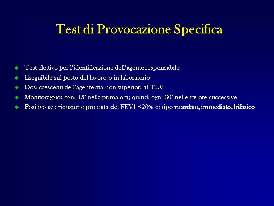 Test elettivo per lidentificazione dellagente responsabile Eseguibile sul posto del lavoro o in laboratorio Dosi crescenti dellagente ma non superiori