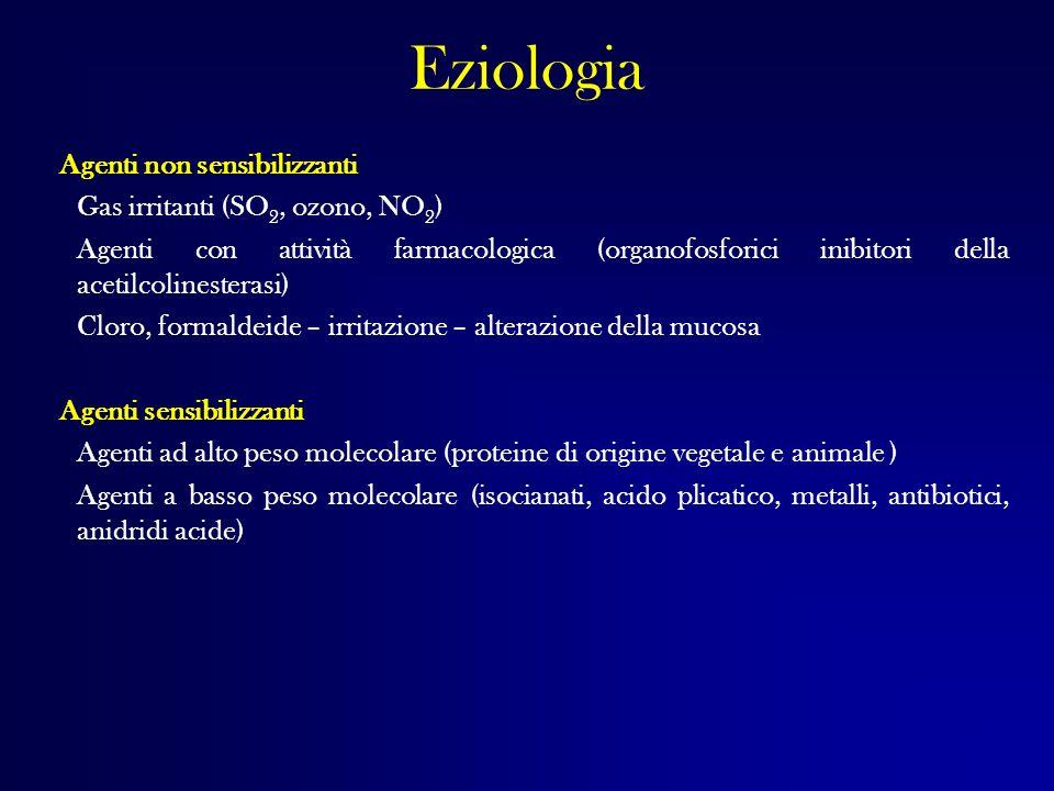 Eziologia Agenti non sensibilizzanti Gas irritanti (SO 2, ozono, NO 2 ) Agenti con attività farmacologica (organofosforici inibitori della acetilcolin