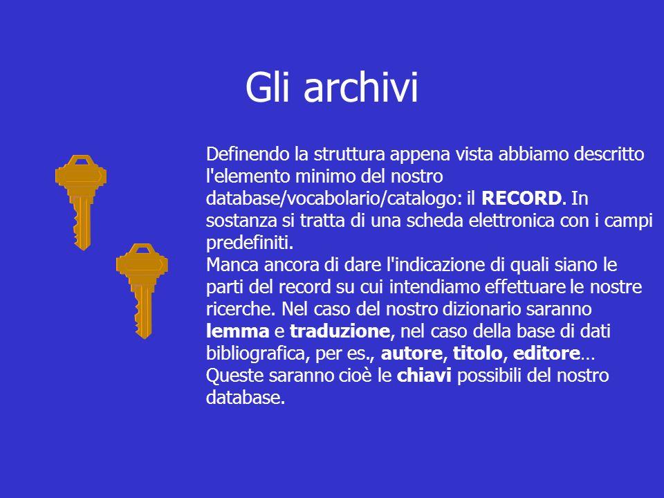 Gli archivi Definendo la struttura appena vista abbiamo descritto l elemento minimo del nostro database/vocabolario/catalogo: il RECORD.