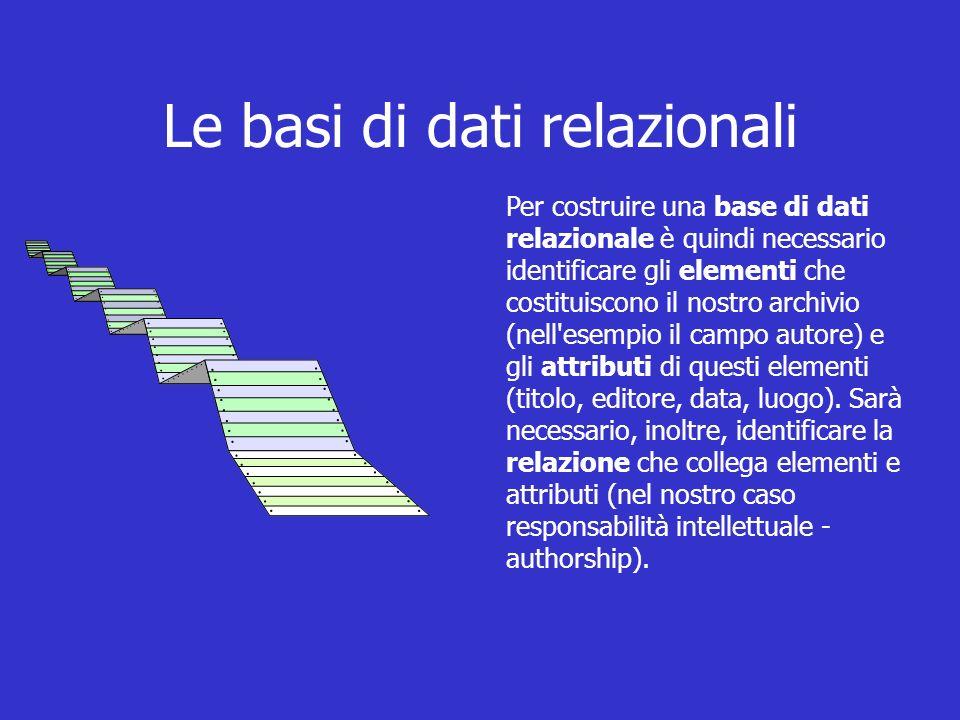Le basi di dati relazionali Per costruire una base di dati relazionale è quindi necessario identificare gli elementi che costituiscono il nostro archivio (nell esempio il campo autore) e gli attributi di questi elementi (titolo, editore, data, luogo).