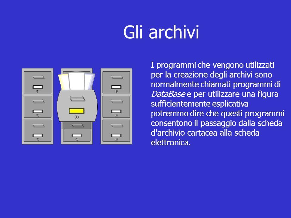 Gli archivi I programmi che vengono utilizzati per la creazione degli archivi sono normalmente chiamati programmi di DataBase e per utilizzare una figura sufficientemente esplicativa potremmo dire che questi programmi consentono il passaggio dalla scheda d archivio cartacea alla scheda elettronica.