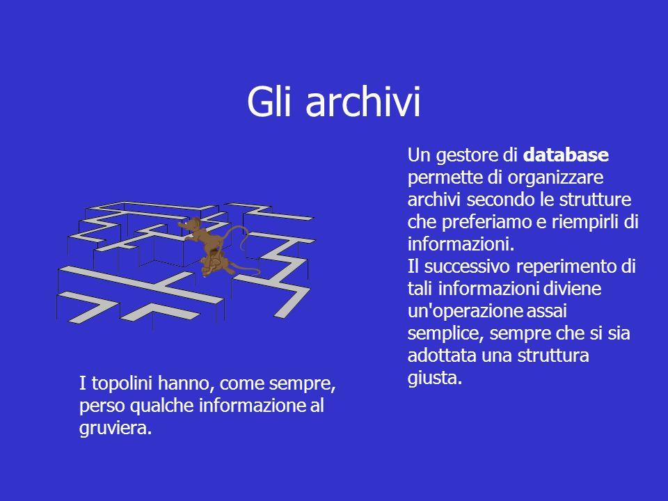Un gestore di database permette di organizzare archivi secondo le strutture che preferiamo e riempirli di informazioni.
