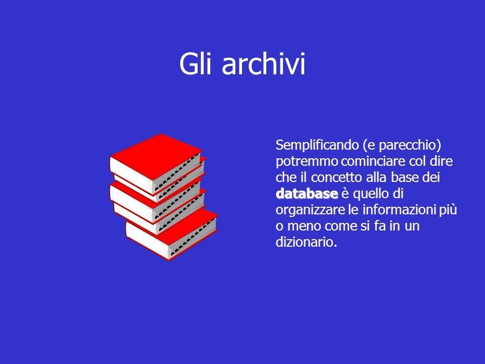 Semplificando (e parecchio) potremmo cominciare col dire che il concetto alla base dei database è quello di organizzare le informazioni più o meno come si fa in un dizionario.