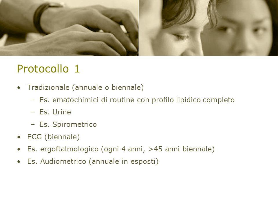 Protocollo 1 Tradizionale (annuale o biennale) –Es. ematochimici di routine con profilo lipidico completo –Es. Urine –Es. Spirometrico ECG (biennale)