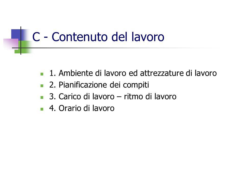 C - Contenuto del lavoro 1. Ambiente di lavoro ed attrezzature di lavoro 2. Pianificazione dei compiti 3. Carico di lavoro – ritmo di lavoro 4. Orario