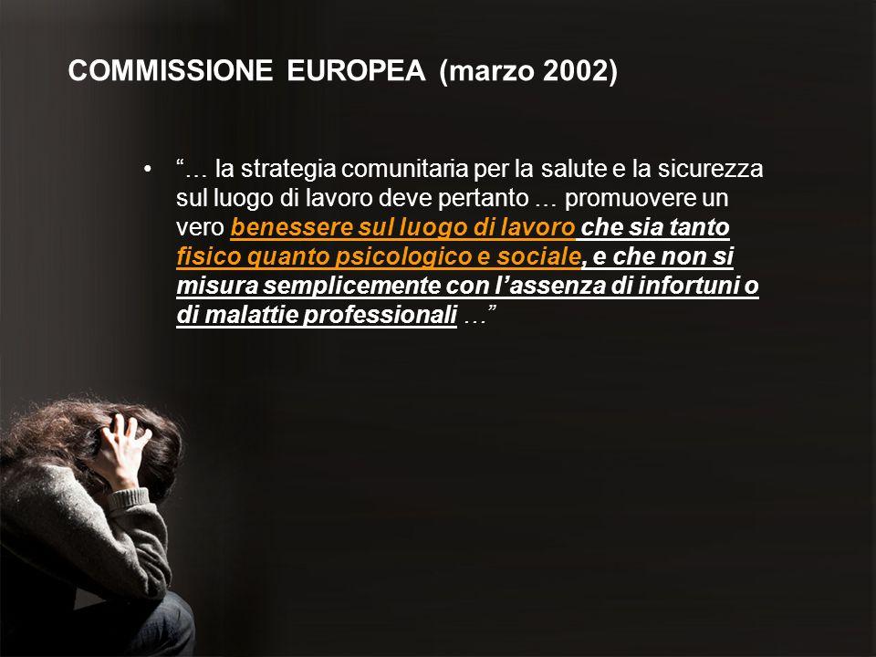 COMMISSIONE EUROPEA (marzo 2002) … la strategia comunitaria per la salute e la sicurezza sul luogo di lavoro deve pertanto … promuovere un vero beness