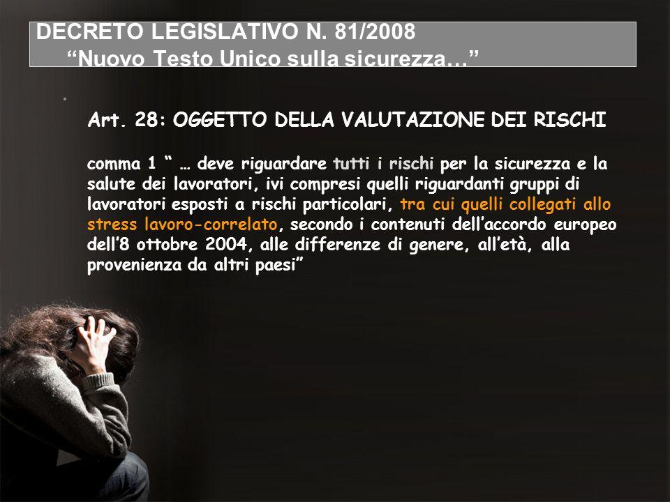 DECRETO LEGISLATIVO N. 81/2008 Nuovo Testo Unico sulla sicurezza… Art. 28: OGGETTO DELLA VALUTAZIONE DEI RISCHI comma 1 … deve riguardare tutti i risc