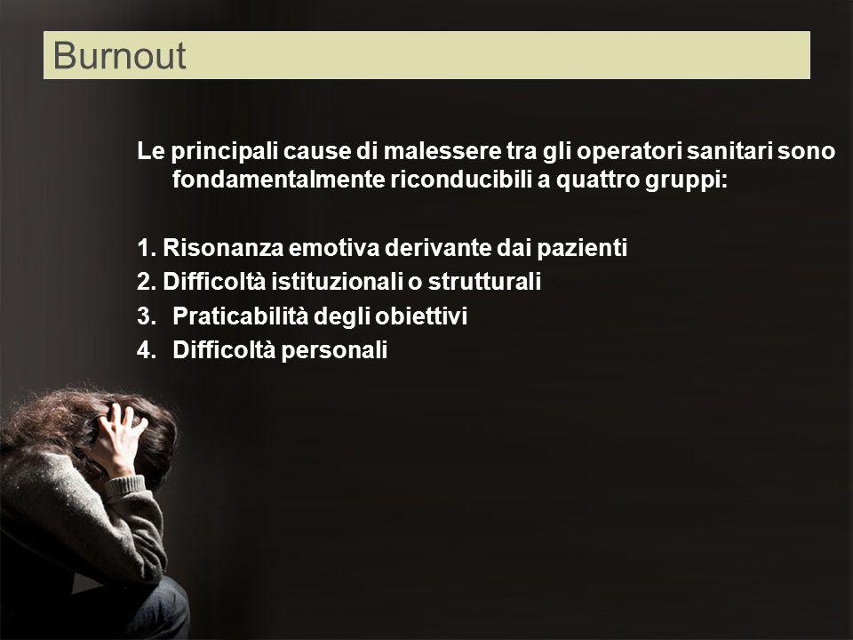 Le principali cause di malessere tra gli operatori sanitari sono fondamentalmente riconducibili a quattro gruppi: 1. Risonanza emotiva derivante dai p