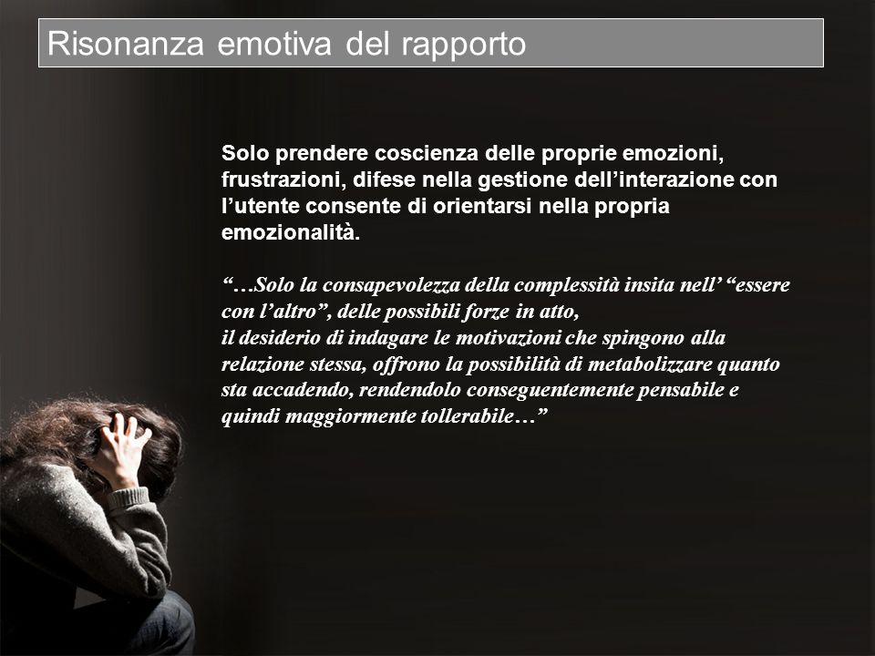 Risonanza emotiva del rapporto Solo prendere coscienza delle proprie emozioni, frustrazioni, difese nella gestione dellinterazione con lutente consent