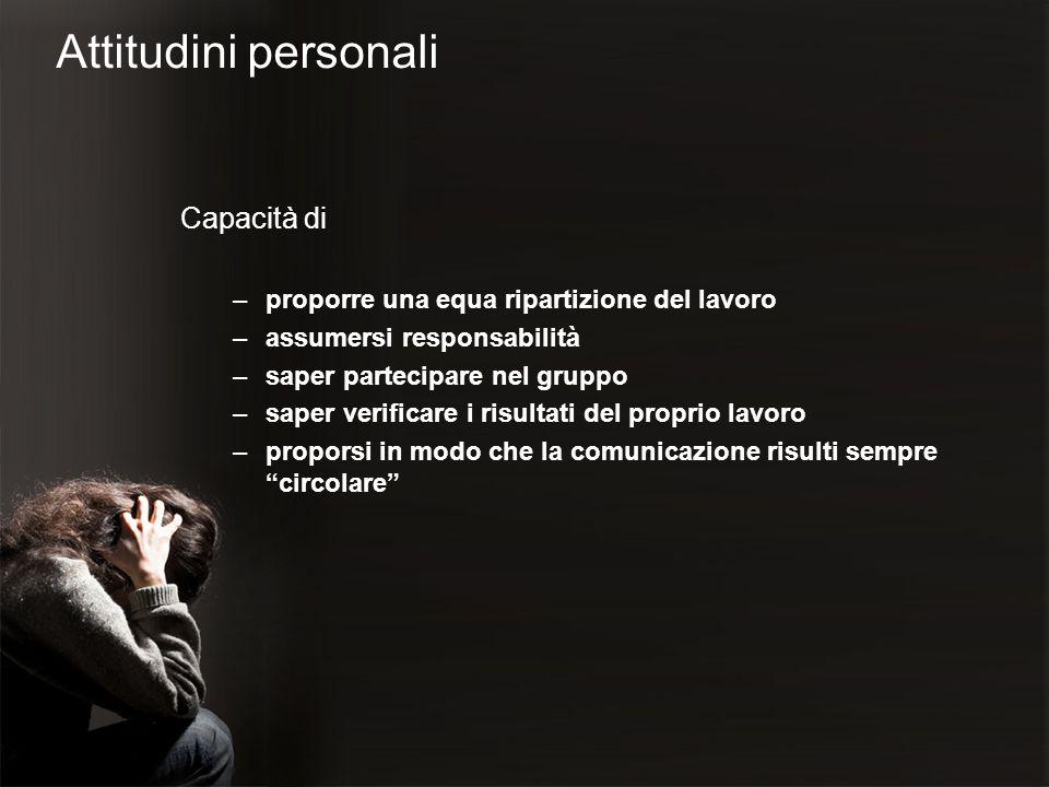 Attitudini personali Capacità di –proporre una equa ripartizione del lavoro –assumersi responsabilità –saper partecipare nel gruppo –saper verificare