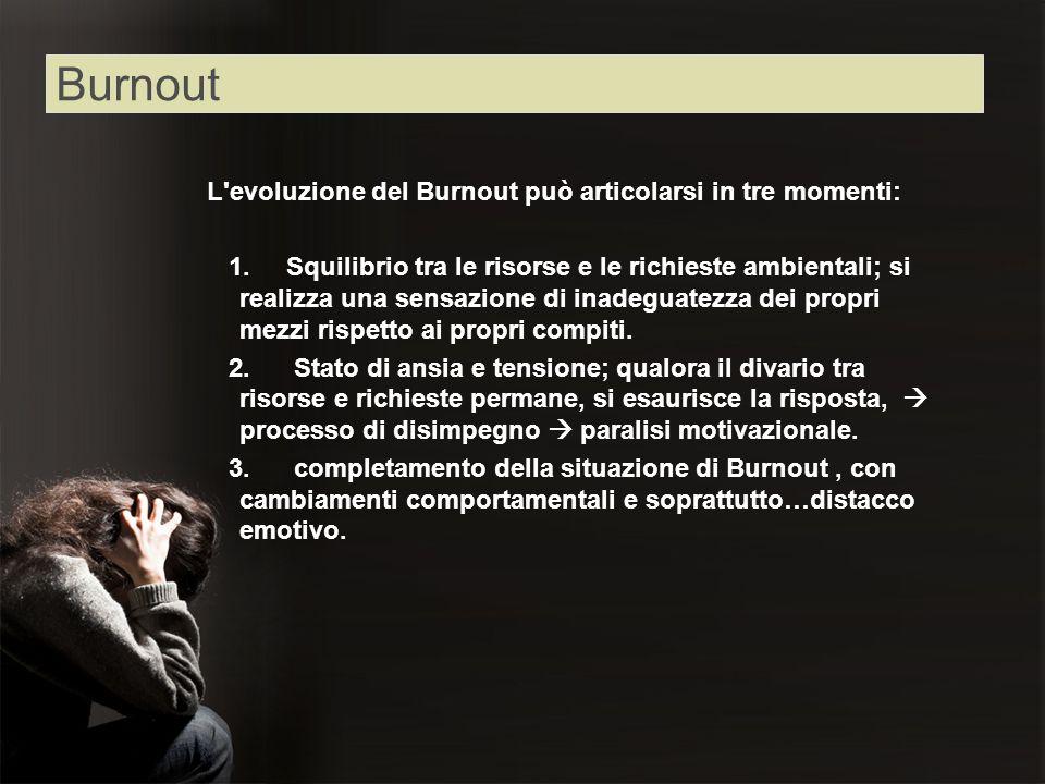 L'evoluzione del Burnout può articolarsi in tre momenti: 1. Squilibrio tra le risorse e le richieste ambientali; si realizza una sensazione di inadegu