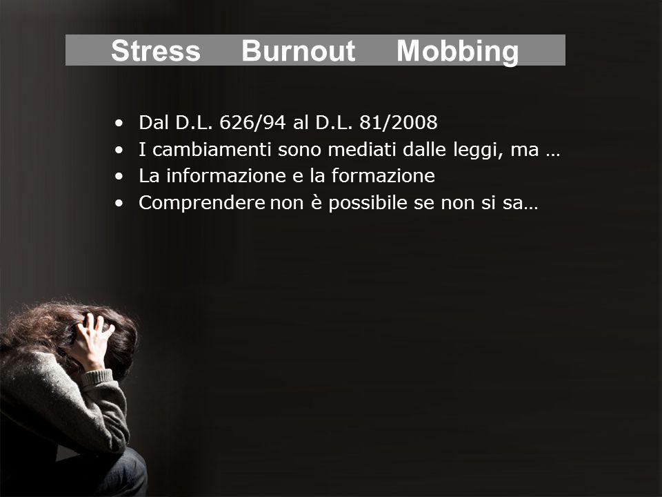Evoluzione normativa 1947 OMS: definizione di salute 2002 Commissione europea 2004 Accordo europeo sullo stress sul lavoro 2008 D.L.