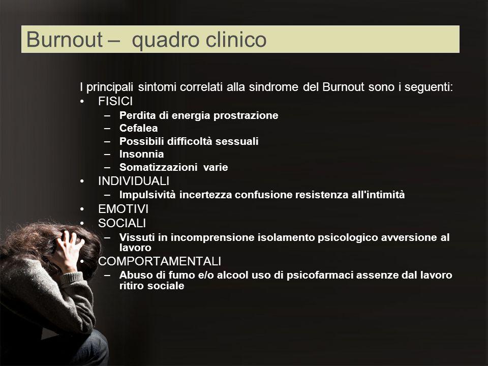 I principali sintomi correlati alla sindrome del Burnout sono i seguenti: FISICI –Perdita di energia prostrazione –Cefalea –Possibili difficoltà sessu