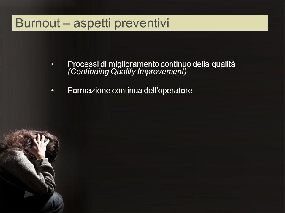 Processi di miglioramento continuo della qualità (Continuing Quality Improvement) Formazione continua dell'operatore Burnout – aspetti preventivi