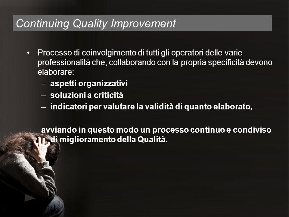 Continuing Quality Improvement Processo di coinvolgimento di tutti gli operatori delle varie professionalità che, collaborando con la propria specific