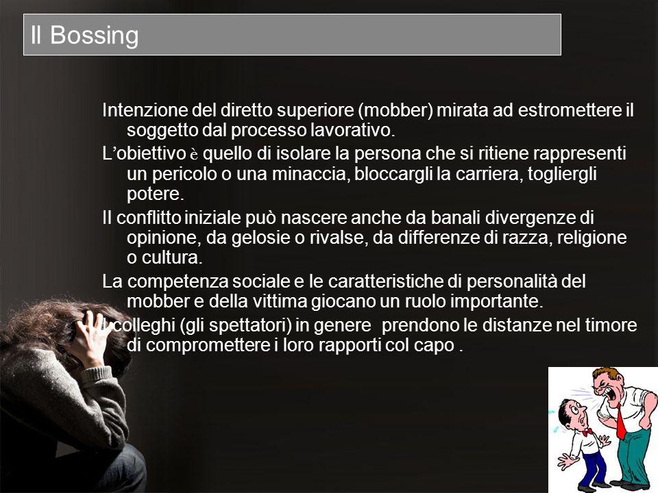 Il Bossing Intenzione del diretto superiore (mobber) mirata ad estromettere il soggetto dal processo lavorativo. L obiettivo è quello di isolare la pe