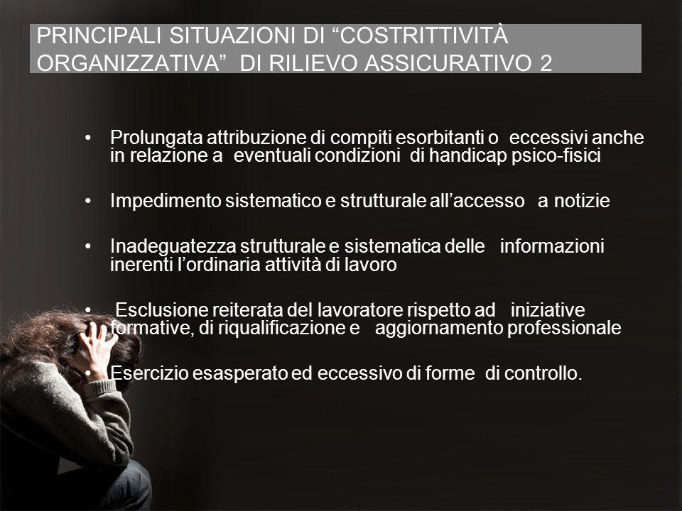 PRINCIPALI SITUAZIONI DI COSTRITTIVITÀ ORGANIZZATIVA DI RILIEVO ASSICURATIVO 2 Prolungata attribuzione di compiti esorbitanti o eccessivi anche in rel