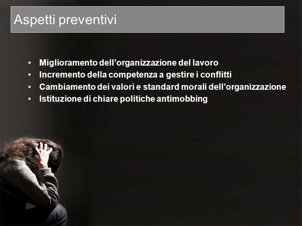 Aspetti preventivi Miglioramento dellorganizzazione del lavoro Incremento della competenza a gestire i conflitti Cambiamento dei valori e standard mor