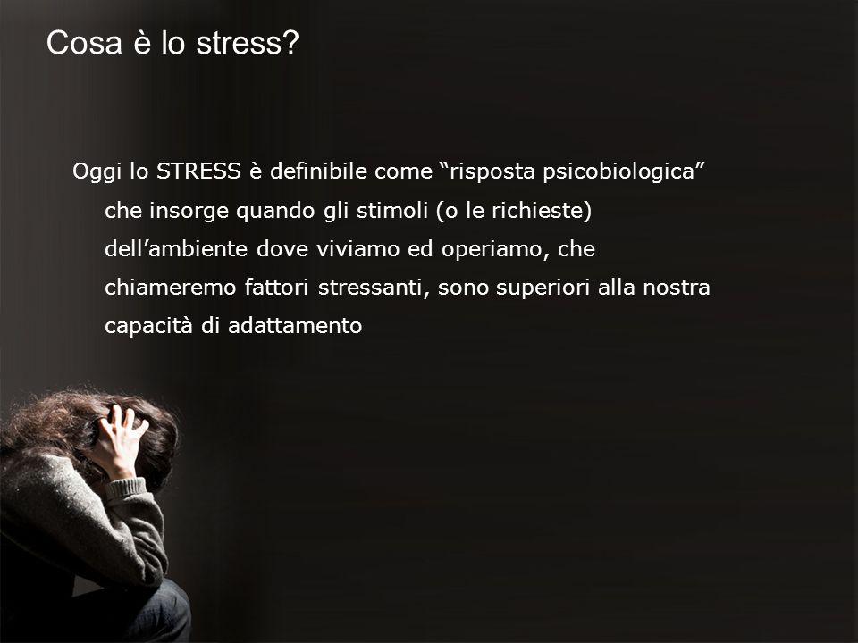 Cosa è lo stress? Oggi lo STRESS è definibile come risposta psicobiologica che insorge quando gli stimoli (o le richieste) dellambiente dove viviamo e